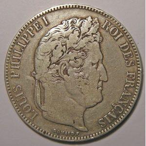Monnaie française, Louis-Philippe I, 5 Francs 1841 B Rouen, TB, Gadoury 678