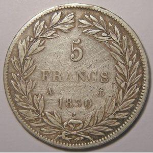 Monnaie française, Louis-Philippe sans le I, 5 Francs 1830 A Paris, TB, Gadoury 675