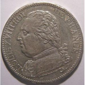 Monnaie française, Louis XVIII, 5 francs 1814 A Paris, SUP+, Gadoury: 591
