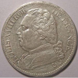 Monnaie française, Louis XVIII, 5 Francs 1815 M Toulouse, TTB, Gadoury 591