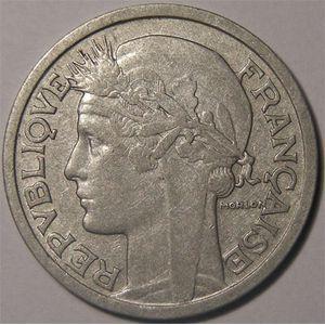 Monnaie Française, Morlon en aluminium, 2 Francs 1945 B