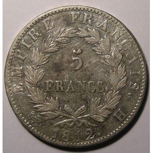 Monnaie française, Napoléon I, 5 Francs 1812 H La Rochelle , Gadoury: 584, TTB/TTB+