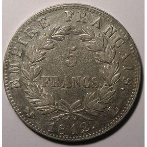Monnaie française, Napoléon I, 5 Francs 1812 L Bayonne , Gadoury: 584, TTB/TTB+