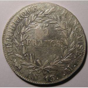 Monnaie française, Napoléon I, 5 Francs l'An 13 M Toulouse , Gadoury: 580, TB+/TTB