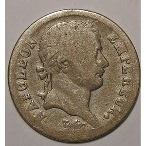 Monnaie Française, Napoléon I, Rarissime 1/2 Franc 1808 L Bayonne B+, Gadoury: 398