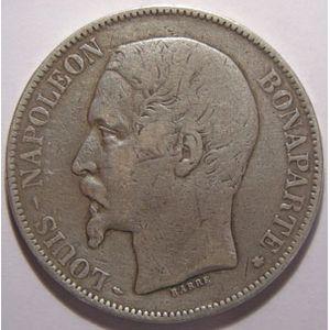 Monnaie française, Napoléon III, 5 francs 1852 BB Strasbourg, TB/TB+, Gadoury: 726
