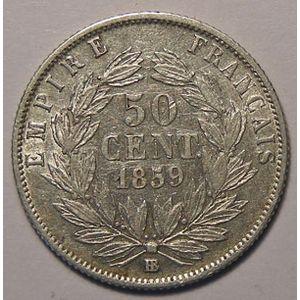 Monnaie Française, Napoléon III, 50 Centimes 1859 BB Strasbourg, TB+/TTB, Gadoury: 414