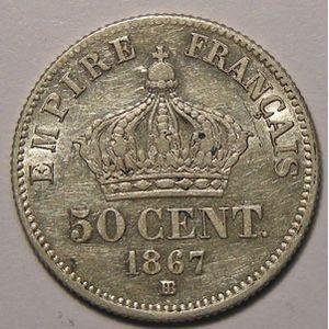 Monnaie Française, Napoléon III, 50 Centimes 1867 BB Strasbourg, TTB/TTB+, Gadoury: 417