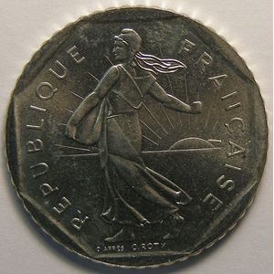 Monnaie française, Semeuse, 2 Francs 1990, SUP+, KM#942.1