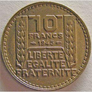 Monnaie française, Turin, 10 francs, 1945 Rameaux courts