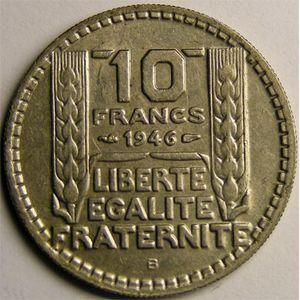 Monnaie française, Turin, 10 francs, 1946 B Rameaux longs