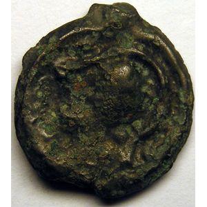 Monnaie gauloise, Senons, Potin à la tête casquée et à la rosace