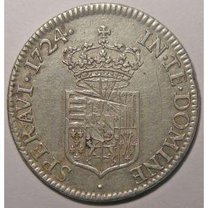 Monnaie Lorraine, duché de Lorraine, Léopold 1er (1690-1729), 1/2 Aubonne 1724, Flon P 917 n° 142