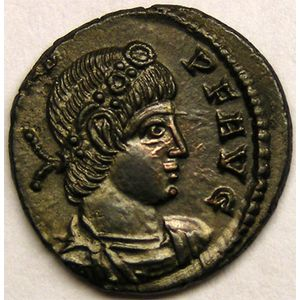 Monnaie romaine, empereur, Constans, centenionalis ou nummus, R/ GLORIA EXERCITVS