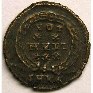 Monnaie romaine, empereur, Constans, centenionalis ou nummus, R/ VOT XX MVLT XXX