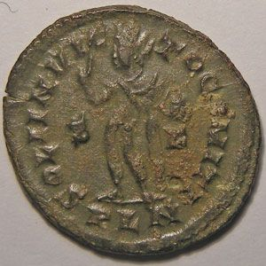 Monnaie romaine, empereur, Constantin I, Constantinus I, Follis de Londres,  R/ SOLI INVICTO COMITI