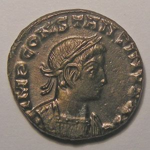 Monnaie romaine, empereur, Constantin I, Constantinus I, Follis de Lyon,  R/ SOLI INVICTO COMITI
