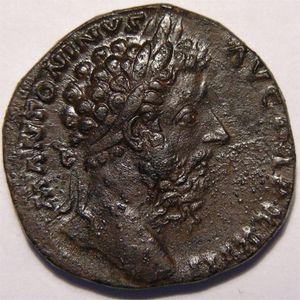 Monnaie romaine, empereur, Marc Aurèle, sesterce, R/ SALVTI AVG COS III   SC