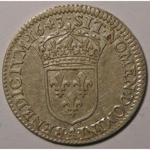 Monnaie royale, Louis XIII, 1/12 Ecu 1643 A Paris Variante Point, Gadoury: 46