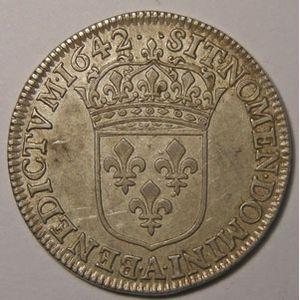 Monnaie royale, Louis XIII, 1/4 Ecu 1642 A Paris Variante 2 Points, Gadoury 48