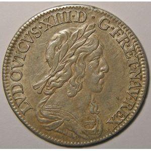 Monnaie royale, Louis XIII, 1/4 Ecu 1643 A Paris Variante Rose, Gadoury: 48