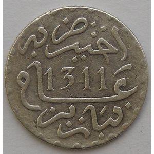 Morocco, 1/2 Dirham 1311 H Paris, TTB, Lec: 99