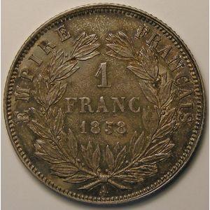 Napoléon III, 1 Franc 1858 A, SUP/SUP+, KM# 779.1