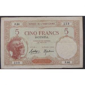 Nouvelle Calédonie, 5 Francs ND 1926, VF