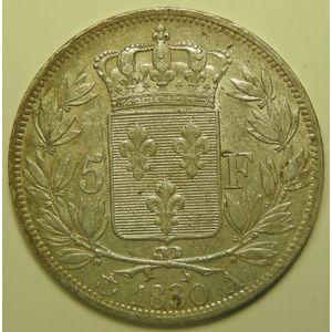 RARE, Charles X, 5 Francs 1830 A, KM#727, TTB