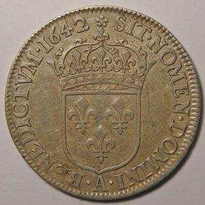 RARE, Rose et Etoile après REX Louis XIII, 1/4 Ecu 1642 A Paris, Gadoury: 48