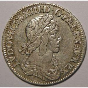 RARE, Rose et Point après REX Louis XIII, 1/4 Ecu 1642 A Paris, Gadoury: 48