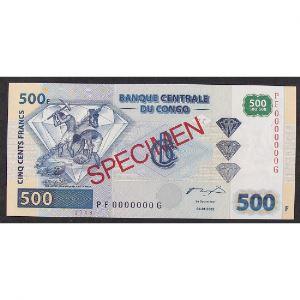 Rép. Dém. du Congo, 500 Francs 04.01.2002, Spécimen, UNC