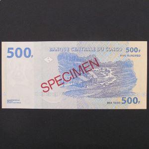 Rép.Dém. du Congo, SPECIMEN 500 Francs 4.1.2002, UNC
