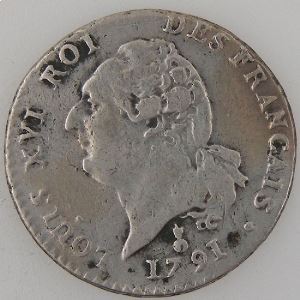 Révolution Française, Constitution, 15 Sols 1791 AA, Gad: 35, TB+