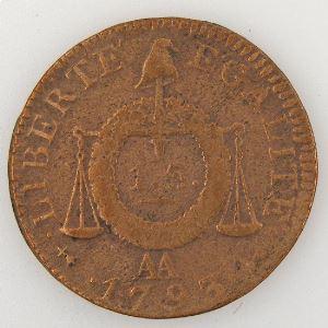 Révolution Française, Convention, Sol aux balances 1791 AA, Gad: 19, TB