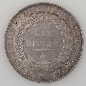 Révolution Française, Convention, Ecu de 6 livres, 1793 A Paris, KM# 624.01, TTB/TTB+