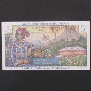 Saint Pierre et Miquelon, 5 Francs ND 1950-1960, UNC
