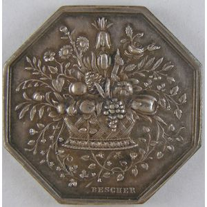 Société Nationale d'Horticulture de France, argent 31mm, 12.05 Grs, signé  Bescher,  SUP