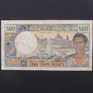 Tahiti, 500 Francs ND, VF