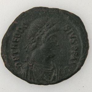 THEODOSIUS I, Maiorina, R/ GLORIA ROMANORVM, TB+/TTB
