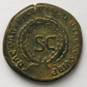 Trajan, Traianus,  Dupondius, R/ DAC PARTHICO P M TR POT XX COS VI PP SC, TB/TB+