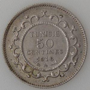 Tunisie, 50 Centimes 1916, TTB+, KM#237