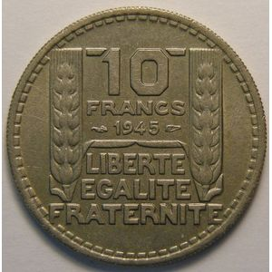 Turin, 10 Francs 1945 RC, TTB, Gadoury 810
