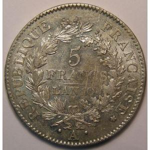 Union et Force, 5 Francs l'An 10 A Paris , Gadoury: 563a, TTB+