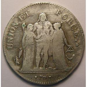 Union et Force, 5 Francs l'An 11 K Bordeax , Gadoury: 563a, TB