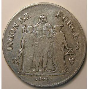 Union et Force, 5 Francs l'An 9 Q , KM# 639.8, TB+/TTB