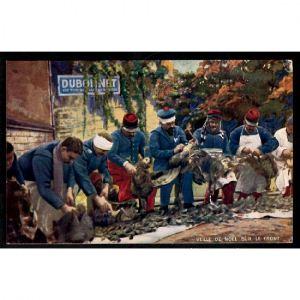 Veille de Noël sur le Front, Soldats Plumant des Dindes - Vin Dubonnet