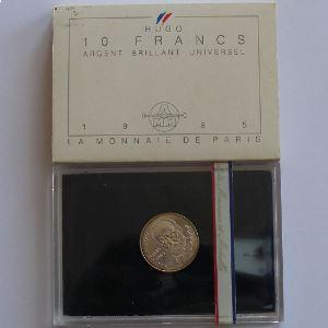 Victor Hugo, 10 Francs 1985, BU argent, KM# 956a
